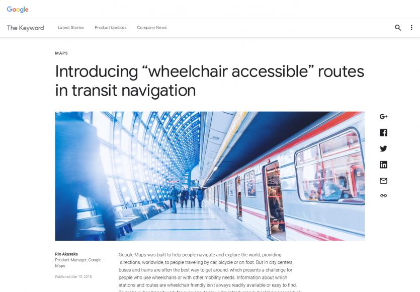 """Google Maps introduit une fonction """"Accessible en fauteuil roulant"""" pour les transports"""