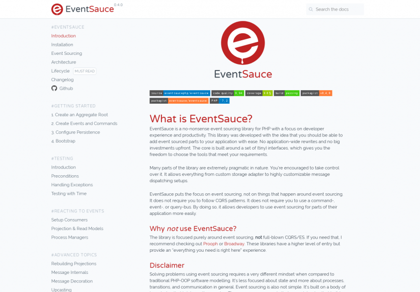EventSauce: Une lib d' eventsourcing PHP qui focus sur l'expérience développeur et sa productivité