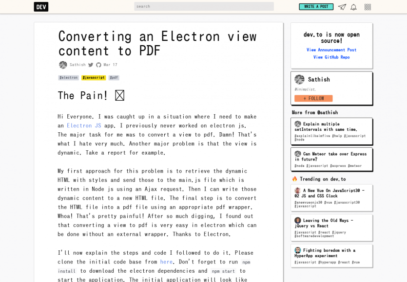Convertir le contenu d'une vue Electron en PDF