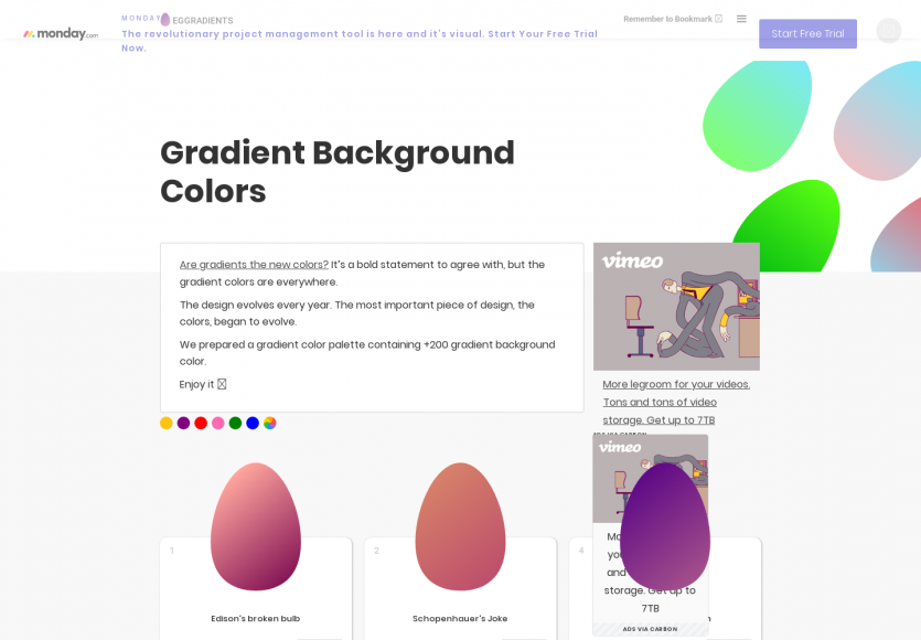Eggradients: Une collection de dégradés qui marchent bien pour inspiration