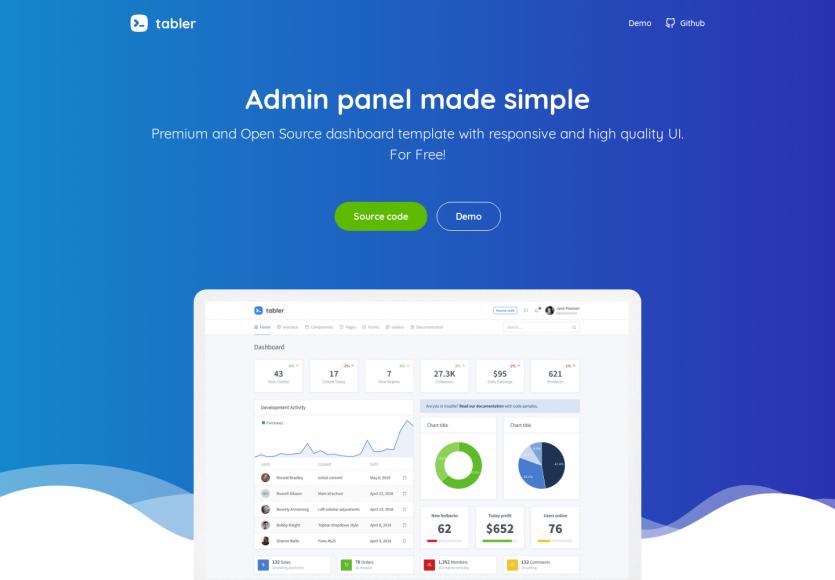Tabler: Un template admin gratuit et open source très propre et moderne