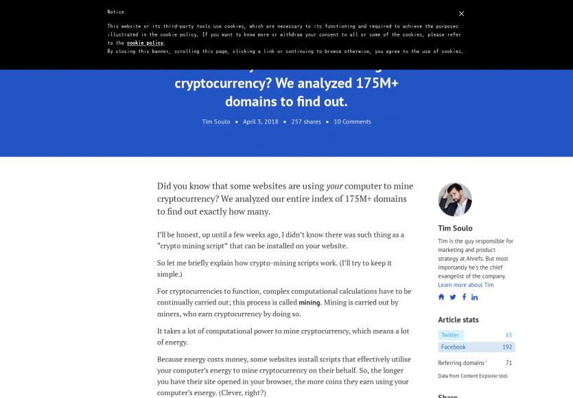 Sur 175M de sites web analysés, 23k minent de la cryptomonnaie avec vos visites.