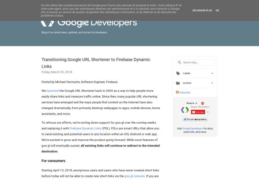 Fin du raccourcisseur d'url de Google au profit de Firebase Dynamic Links (FBL)