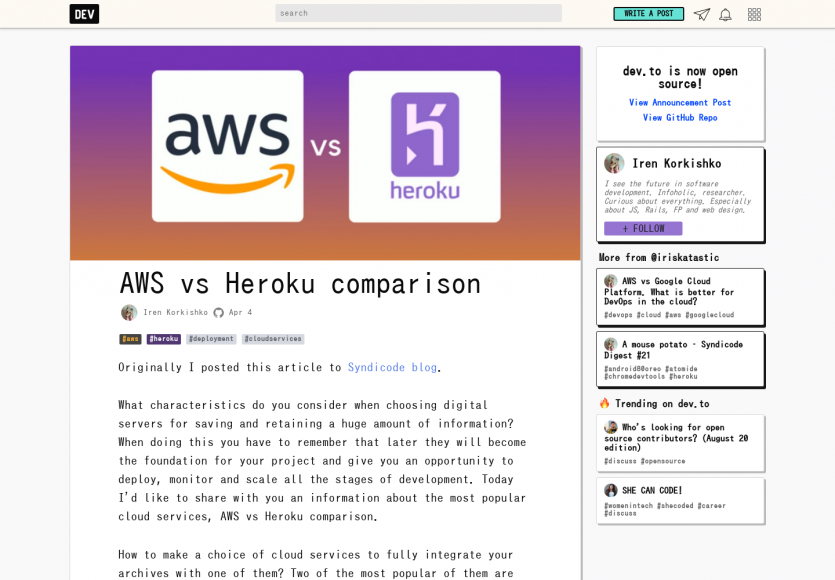 Un mini comparatif AWS vs Heroku