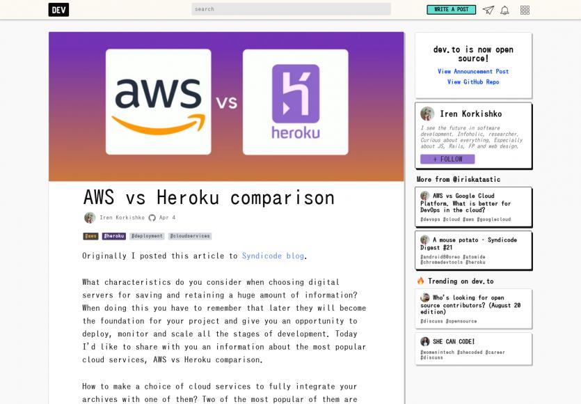 Un mini comparatif AWS vs Heroku