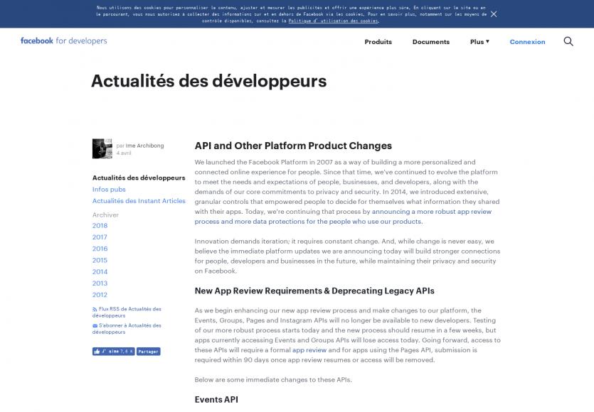Les dernières nouveautés et changements de l'API Facebook