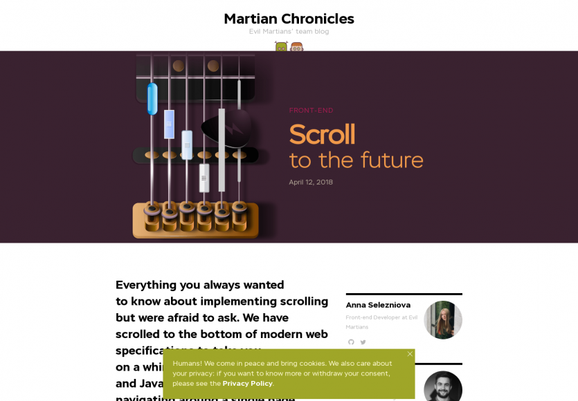 Scroll to the future: Un article intéressant sur le scroll sur des pages web