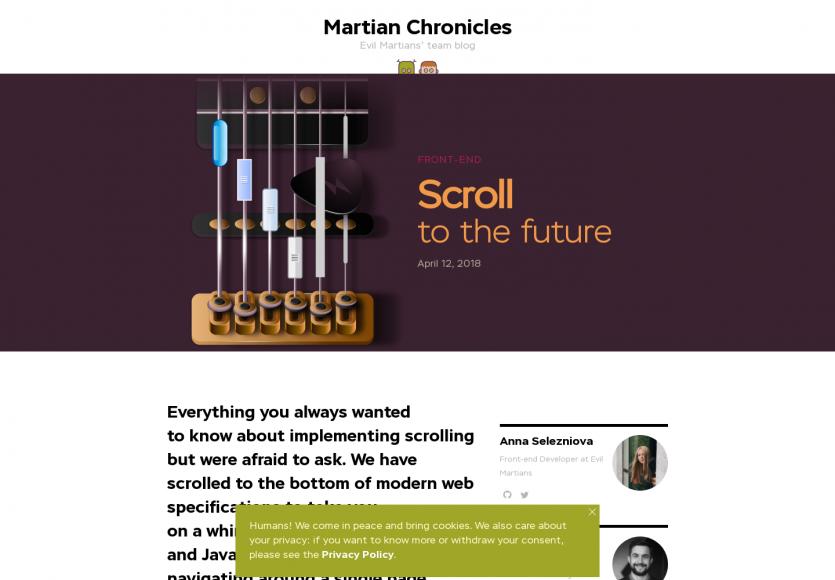 Scroll to the future: Un article intéressant sur le scroll sur des pages web