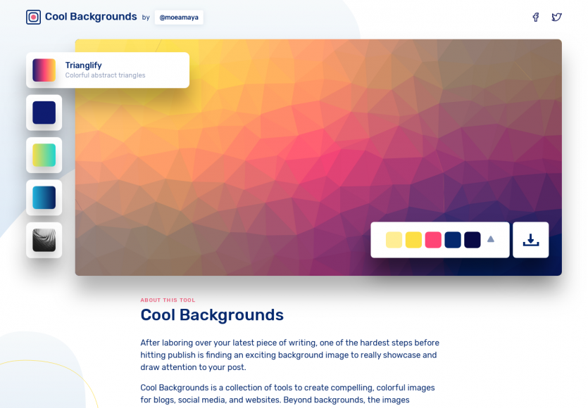 Cool Backgrounds: Un générateur de backgrounds design et modernes