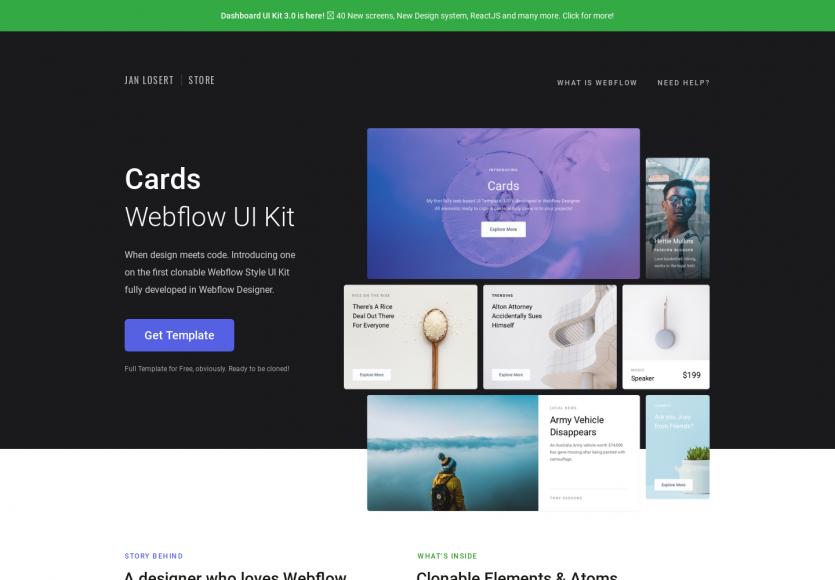 Cards: Un Kit UI de cards pour l'outil Webflow prêt à être cloné et dispo en Sketch