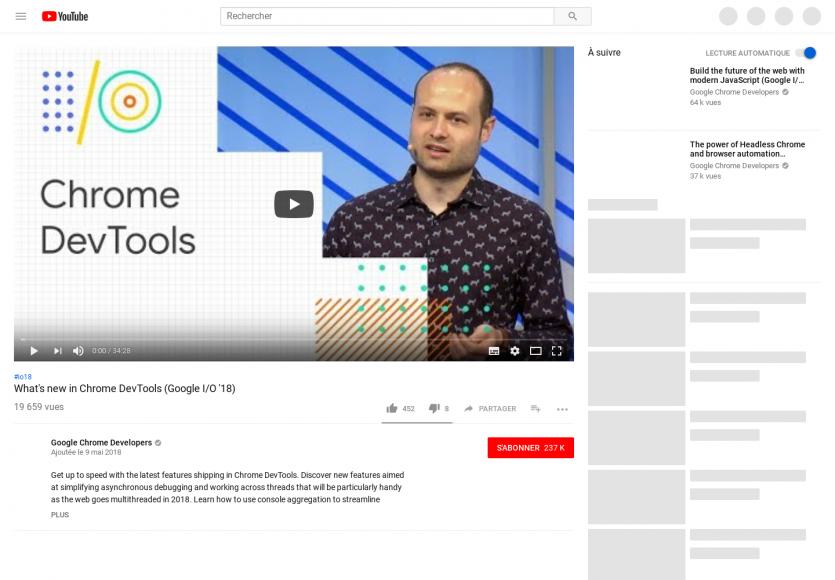 Les nouveautés de Chrome DevTools annoncées au Google I/O 2018 en vidéo