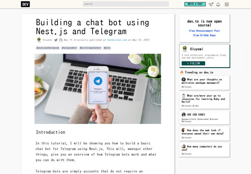 Un tutoriel pour créer un chat bot avec Telegram et Nest.js
