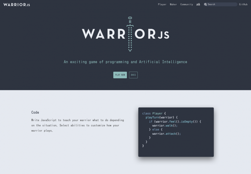 WarriorJS: Un jeu interactif de programmation en Javascript et machinelearning