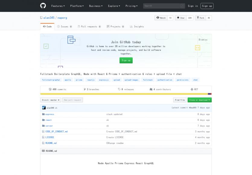 Naperg: Un boilerplate GraphQL fullstack Nodejs & Reactjs pour démarrer vos projets