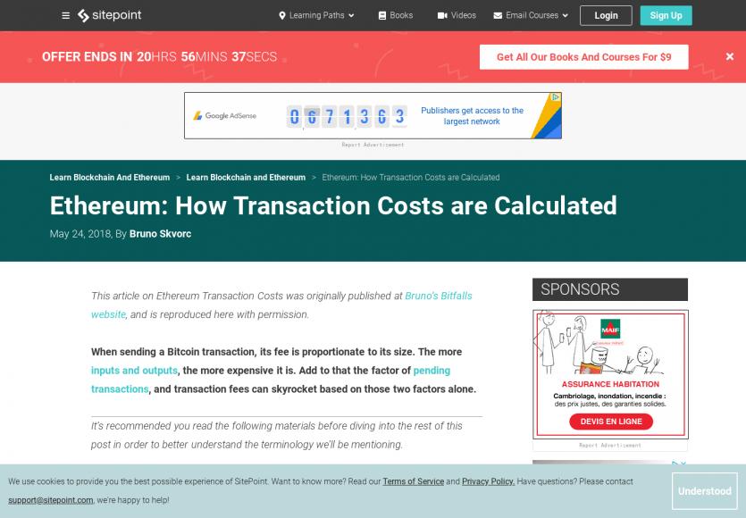 Comment est calculé le coût d'une transaction Ethereum