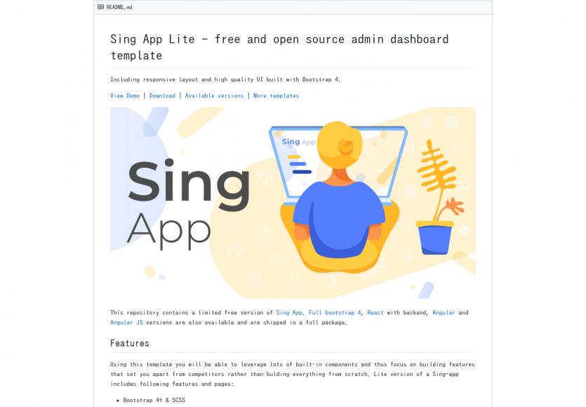 Sing App Lite: Un template d'admin bootstrap 4 gratuit