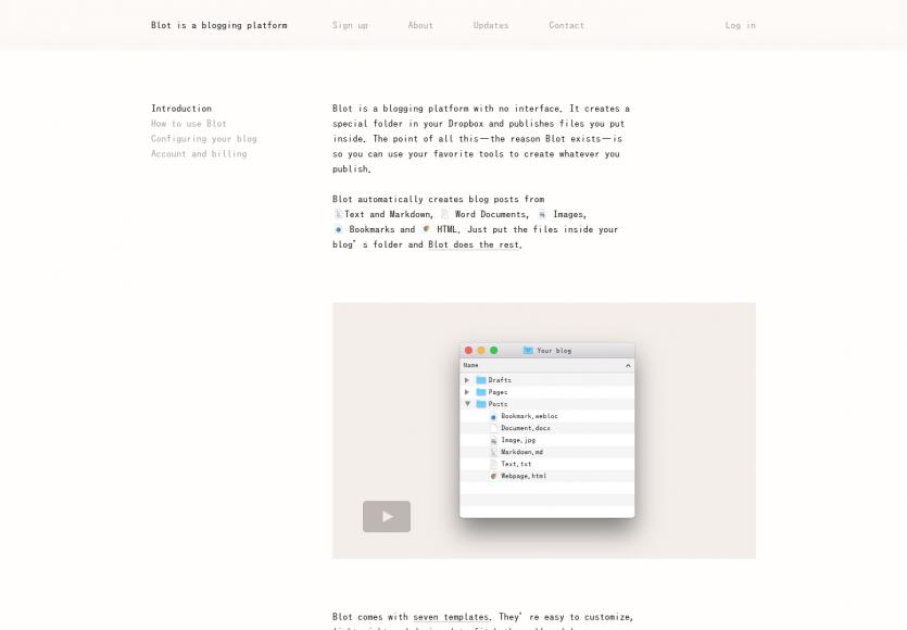 Blot: Transformez un dossier Dropbox en un site web automatiquement via des fichiers Markdown