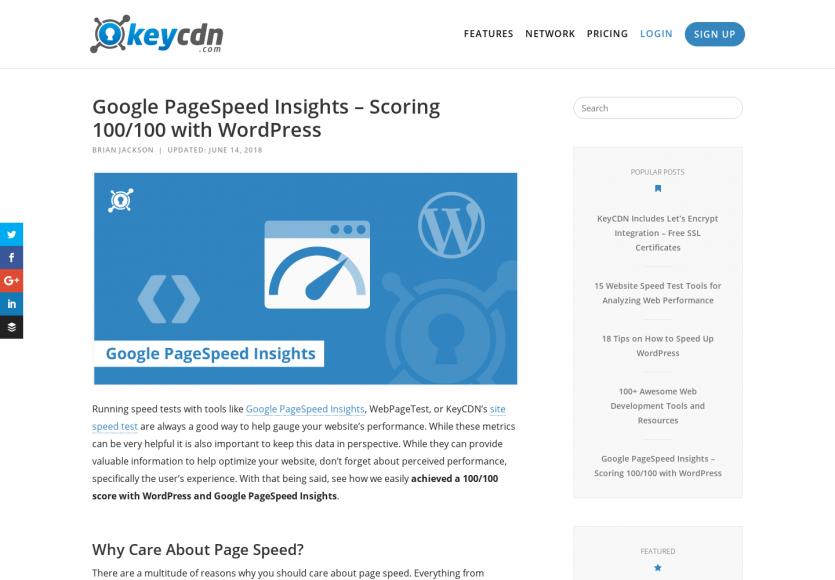 Un PageSpeed Insight à 100/100 avec WordPress