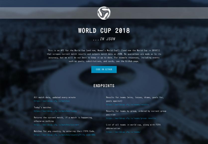 Toute la coupe du monde dans une API JSON