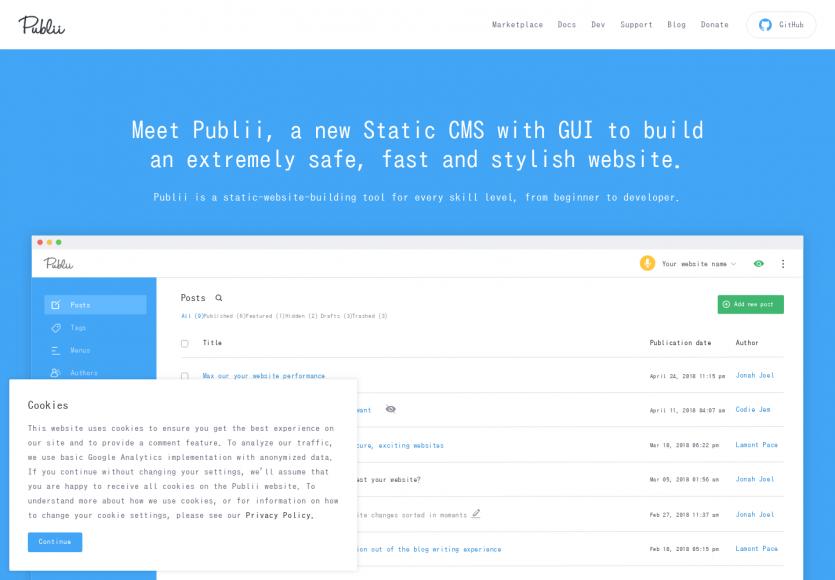Publii: Un CMS de sites statiques développé en Electron et Vue.js très moderne
