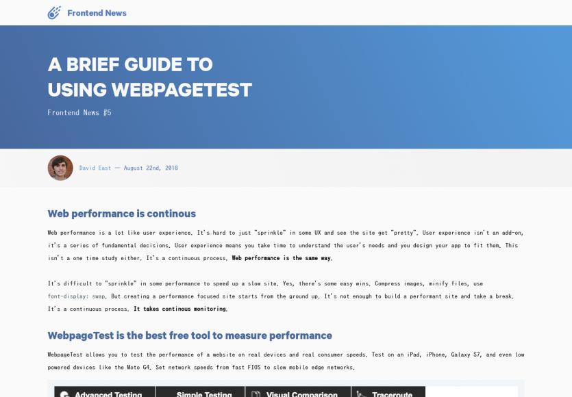 Un guide intéressant pour améliorer ses performances web en utilisant Webpagetest