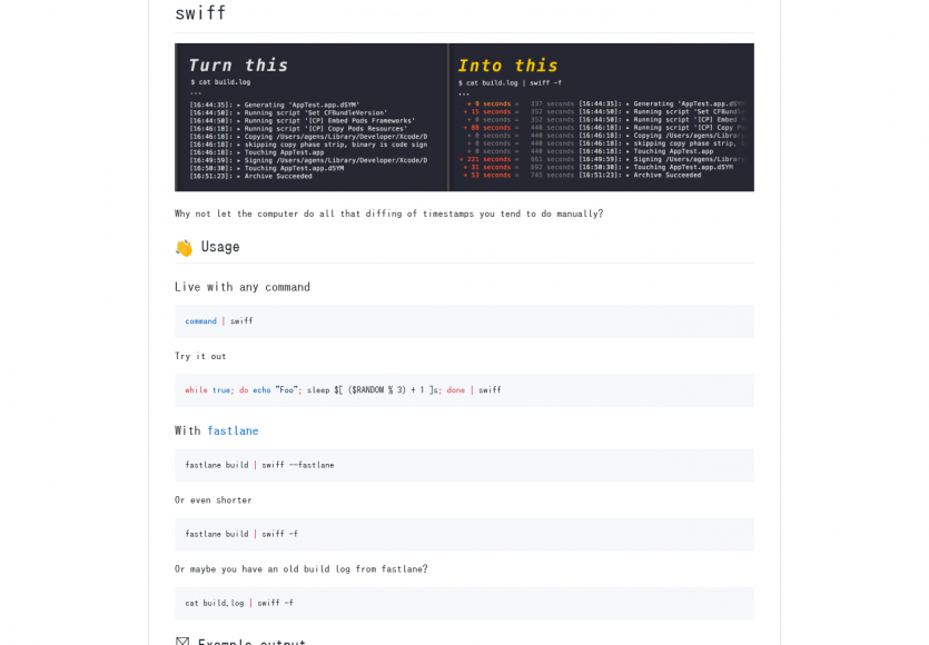 Swiff: Une commande pour afficher les temps écoulés et timestamps de vos logs