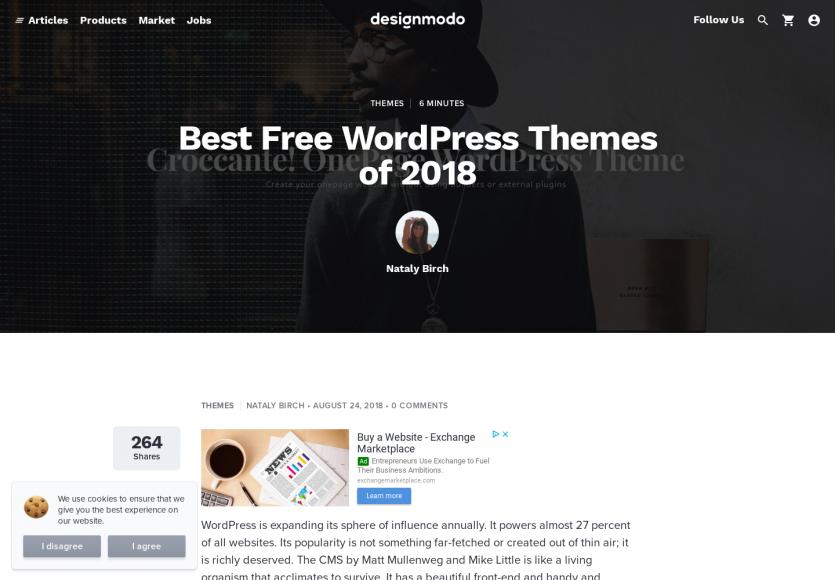 Une collection de thèmes Wordpress gratuits en 2018