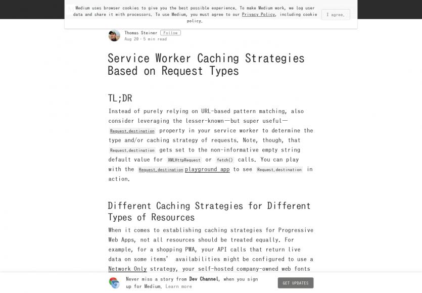Les stratégies de cache de Service Workers basés sur les Request Types
