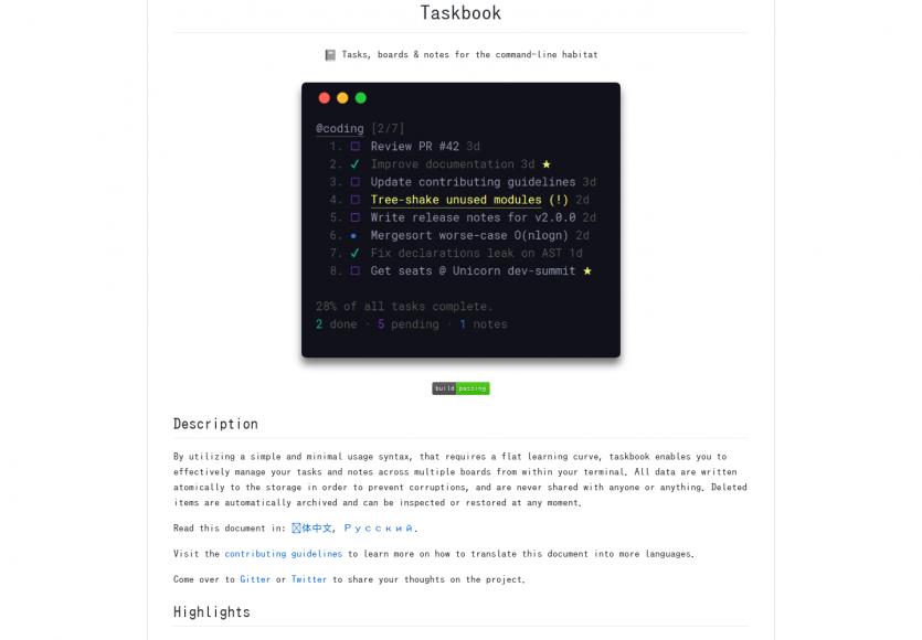 Taskbook: Vos notes et todo list directement dans votre console