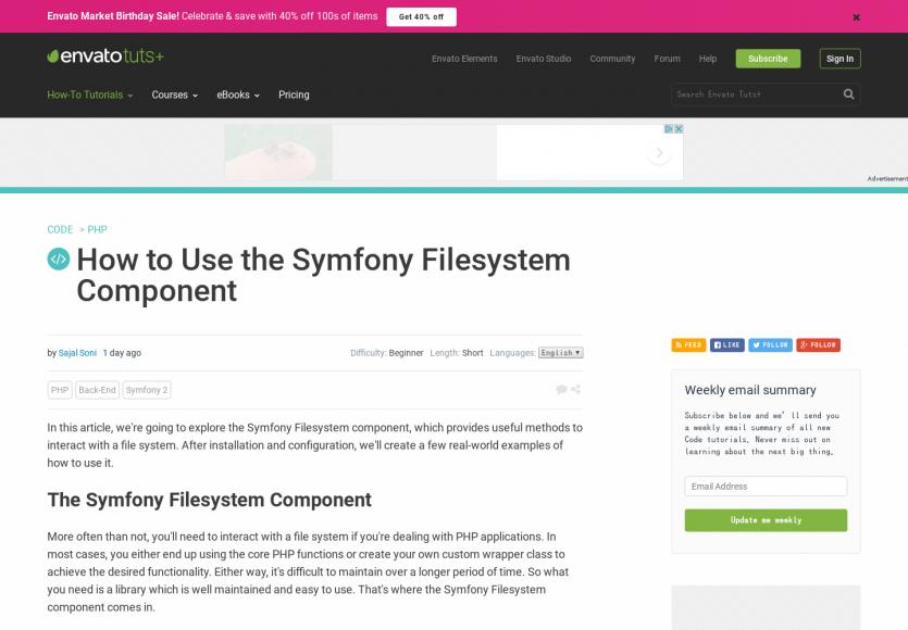 Comment utiliser le composant Symfony Filesystem dans ses projets