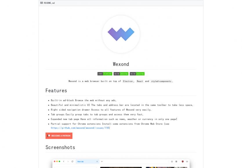 Wexond: Un navigateur web élégant et personnalisable développé avec React et Electron