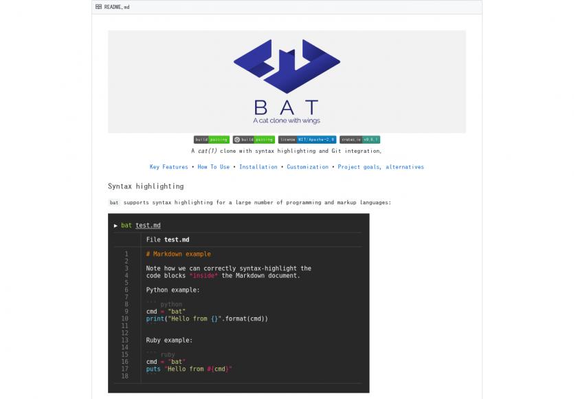 """Bat: Une alternative à """"cat"""" pour afficher le contenu de fichier avec coloration syntaxique"""