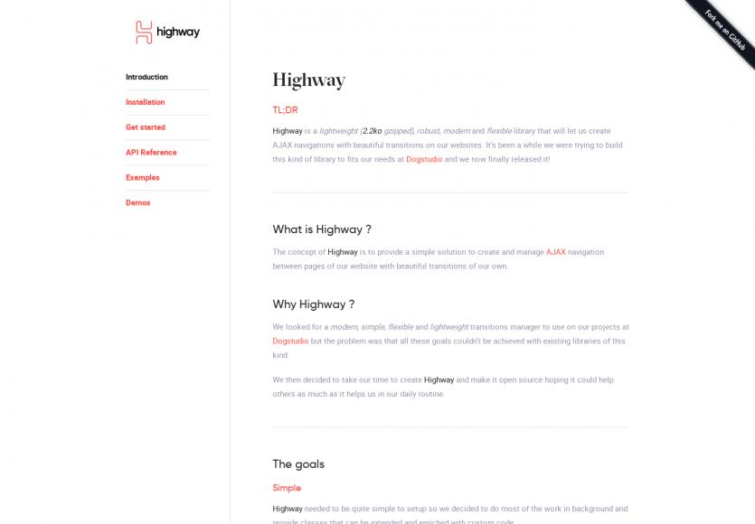 Highway: Une lib JS permettant de faire des navigations Ajax fluides avec de belles transitions