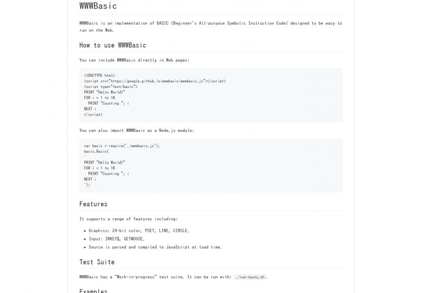 WWWBasic: Une implémentation du langage Basic sur le web