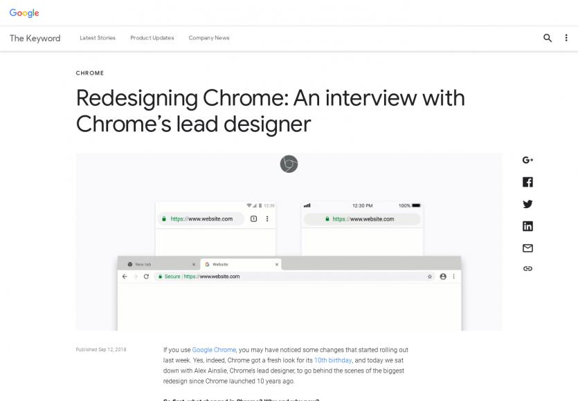 Une interview du lead designer de Chrome sur la refonte du navigateur