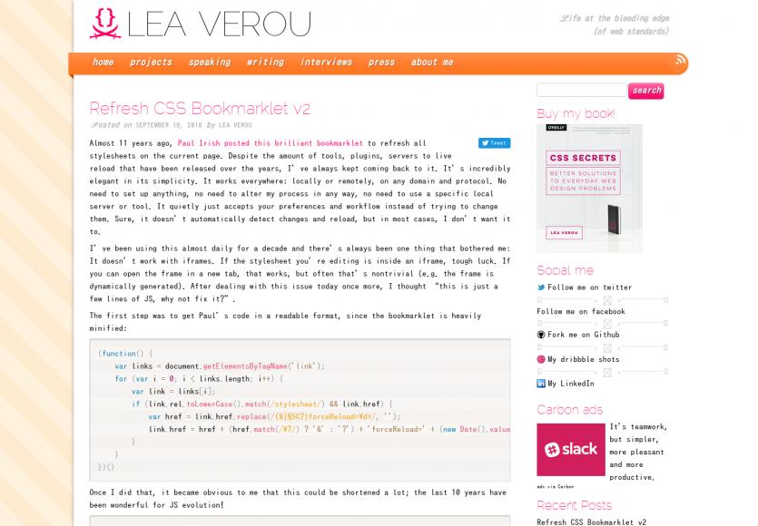 Un bookmarklet pour rafraîchir le CSS de votre page sans recharger toute la page