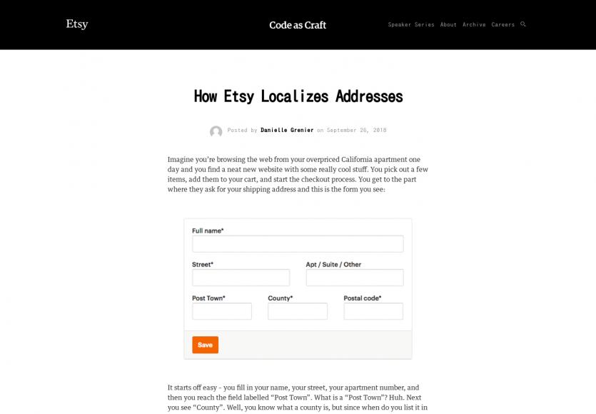 Comment Etsy optimise l'UX de ses formulaires d'adresse pour gérer les différents pays