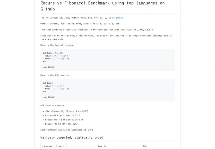 Les langages de développement benchmarkés sur la suite de Fibonacci