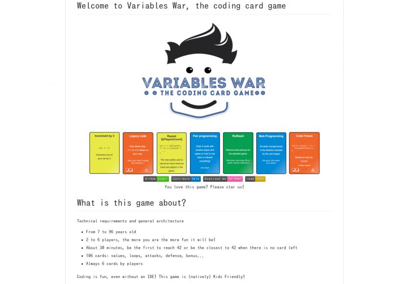 Variables War : un jeu de cartes pour les développeurs