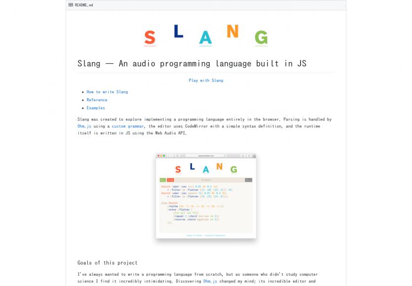 Slang: Un langage de programmation pour générer de l'audio, réalisé en Javascript