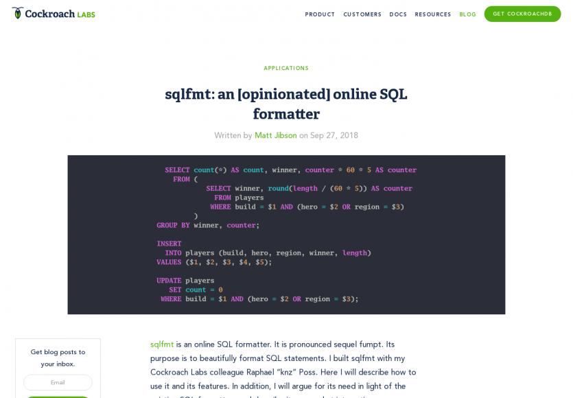 sqlfmt: Un outil en ligne pour formater vos requêtes SQL proprement