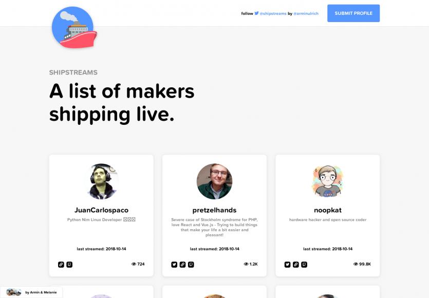 Shipstreams: Une sélection des développeurs qui live stream sur Twitch