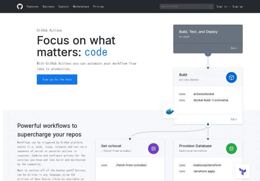Github lance les actions pour pouvoir automatiser vos workflow de déploiement sur mesure