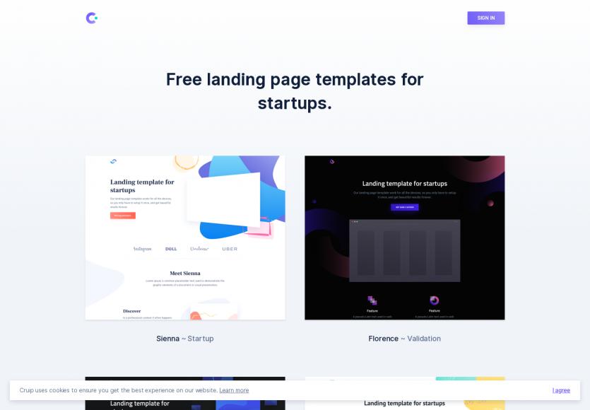 Cruip : des landing pages modernes et gratuites pour start-up