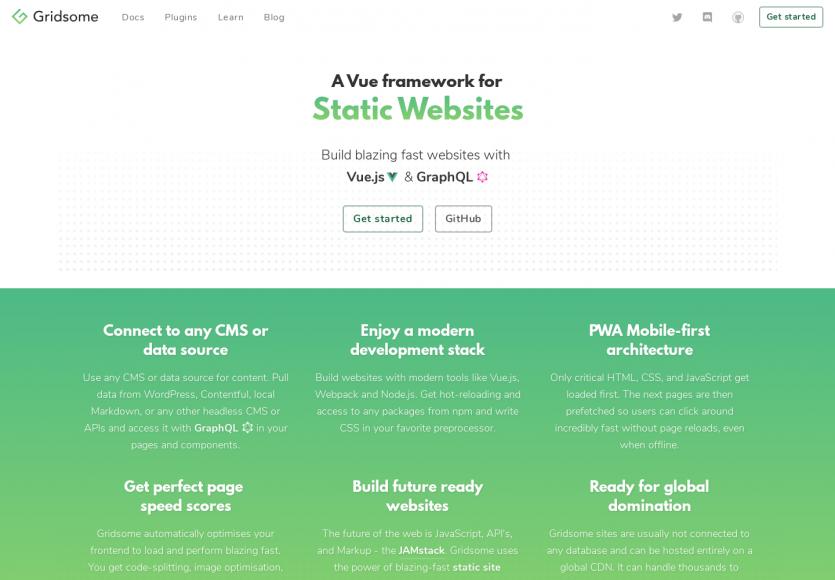 Gridsome: Un framework basé sur Vue.js et GraphQL pour créer rapidement des sites web