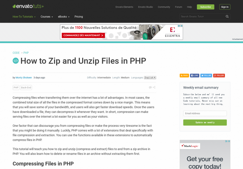 Comment zipper / dezipper des fichiers en PHP