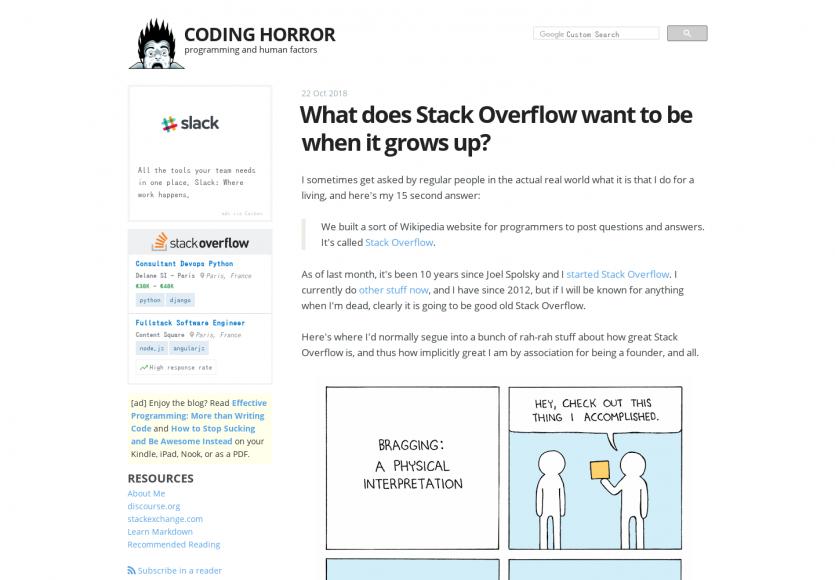 Retour d'expérience et vision du projet Stack Overflow par l'un de ses fondateurs