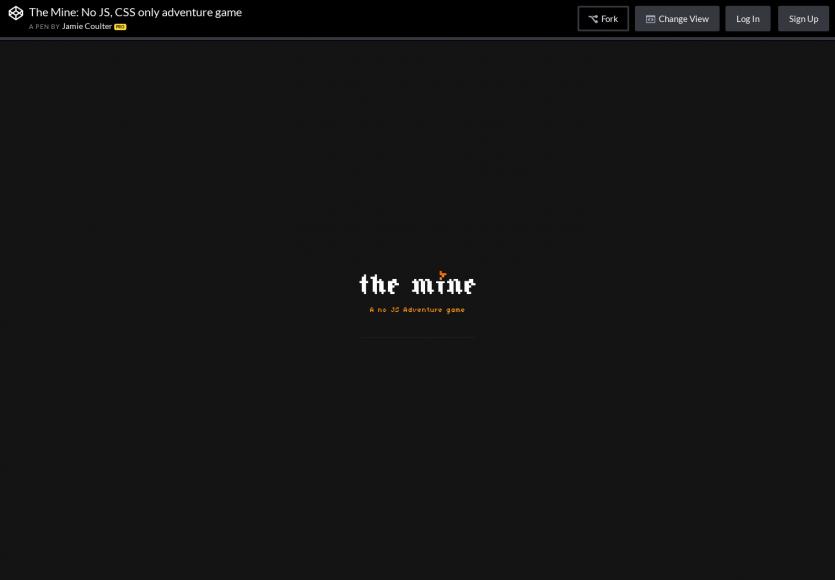 Un jeu d'aventure réalisé en CSS uniquement, sans Javascript