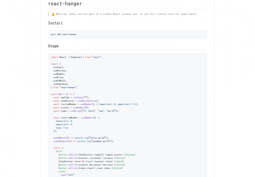 React Hanger: Une collection de hooks utiles pour React.js 16.7