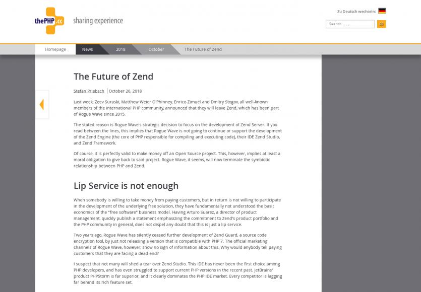 Quel futur pour le framework PHP Zend ?